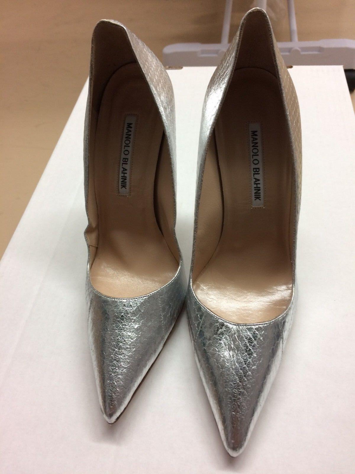 MANOLO BLAHNIK  935 Snakeskin BB Metallic argent argent argent GORGEOUS Pump chaussures Taille 39 NEW 33dffd