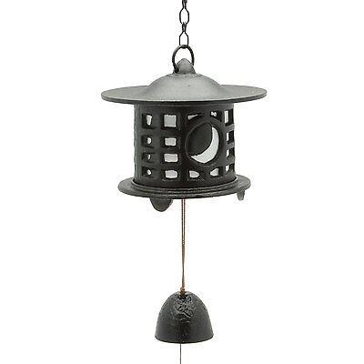 Japanese Furin Lantern Sun Moon Nambu Cast Iron Bell Wind Chime, Made in Japan