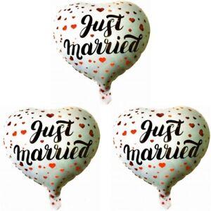 """Befangen Selbstbewusst Unsicher Gehemmt Verlegen 3 Stück Aufblasbarer Folienballon Luftballon Ballon Hochzeitsdeko """"just Married"""" Kunden Zuerst"""