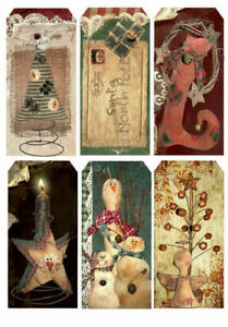 Primitive-Christmas-Tag-Style-Glossy-Finish-Card-Making-Topper-Crafts