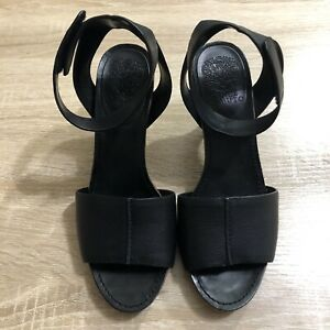Vince-Camuto-Leather-Peep-Toe-Sandals-Size-8-High-Heel-Shoes-Black-Ankle-Strap