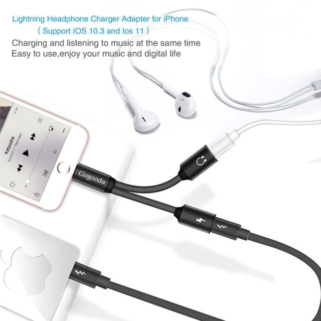 For IPhone 7 8 Plus Lightning Dual 2 Adapter Splitter Headphone Audio Charger