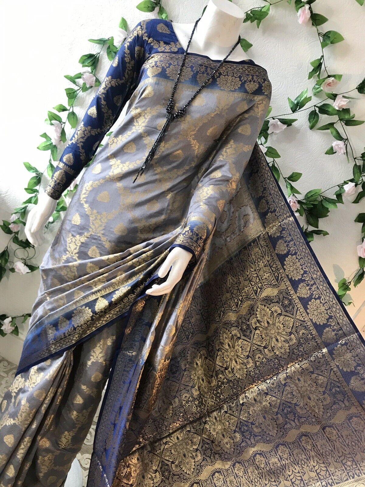 Indian Banarashi Semi Silk Soft Katan Saree In Grey With Readymade Blouse.