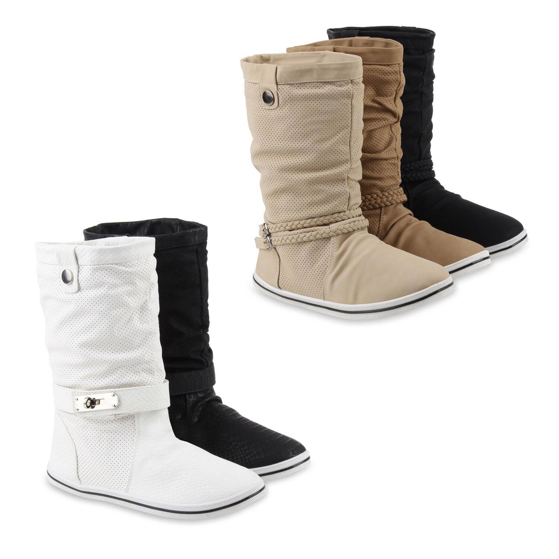 Warm Gefütterte Damen Schlupfstiefel Bequeme Stiefel 890420 Gr.36-41 Schuhe