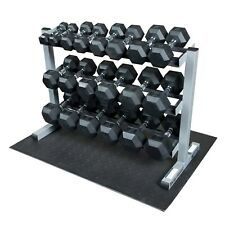 Body-Solid GDR363RFWS 3-Tier Horizontal Dumbbell Rack with Rubber Hex Dumbbells