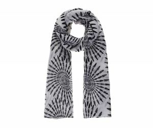 Grand Foulard Scarf Femme Woman imprimé spirales Noir et Blanc   eBay bb4abdde3b8