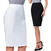 Women's Bodycon Fitted Pull On Knee Length High Waist Stretch Midi Pencil Skirt