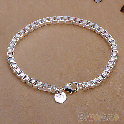 Unisex Fashion Simple Silver Plated Box Chain Bracelet Bangle Charm Jewelry NEW