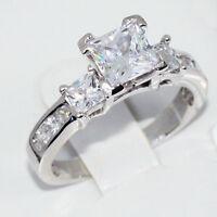 Silver Engagement Ring Past Present Future Cz Princess Cut W Princess Accents