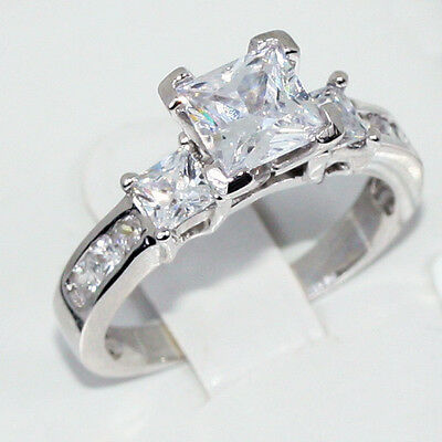 Silver Engagement Ring Past Present Future CZ Princess Cut w Princess accents