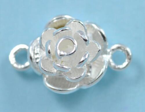 9mm 925 Genuine Sterling Silver Rose Flower Magnetic Pearl Clasp Findings