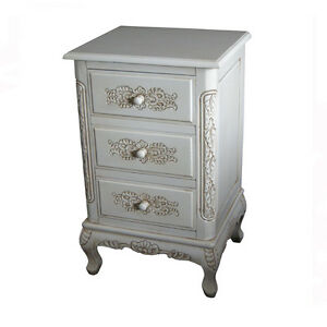 HANDMADE FRENCH STYLE HAND CARVED CHEST OF 3 DRAWERS - ANTIQUE IVORY