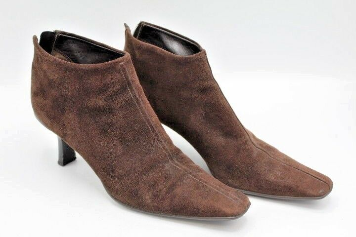 Brown Suede Prada Bootie Boots Shoes w/ Kitten Heel & Back Zipper ~ Size 38 1/2