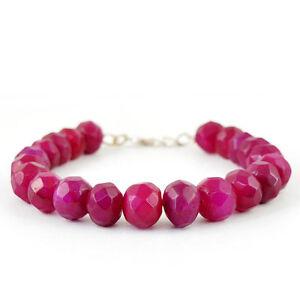 Charmant Top Grade 269.35 Cts Earth Mined Rich Red Ruby Round Faceted Beads Bracelet-afficher Le Titre D'origine Un BoîTier En Plastique Est Compartimenté Pour Un Stockage En Toute SéCurité