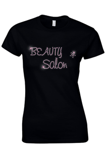 ANY SIZE BEAUTY SALON PINK CRYSTAL DESIGN FITTED LADIES T SHIRT BEAUTICIAN