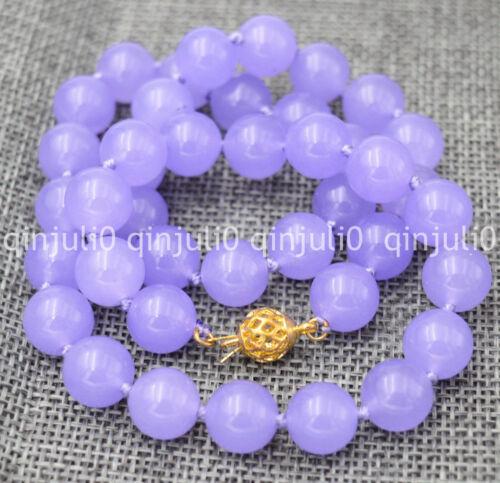 "Exquisite 10mm natural purple emerald gemstone round beads necklace 18/"""