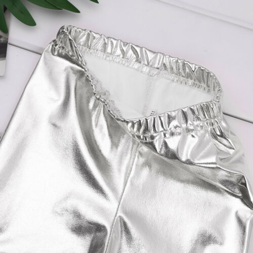 Shiny Metallic Kids Girls Skinny Pants Gymnastics Dance Crop Top Club Leggings