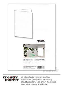 Blanko Klappkarte mit Hammer-/ Leinenstruktur DINA6+dl hochweiß 185g/m² 50 Stück