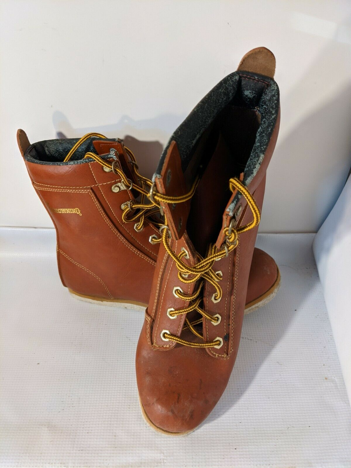 Browning Brown Lace Up Felt Bottom Wading Boots Men's US 8E 293180