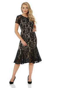 Roman-Originals-Women-039-s-Lace-Flute-Hem-Midi-Dress