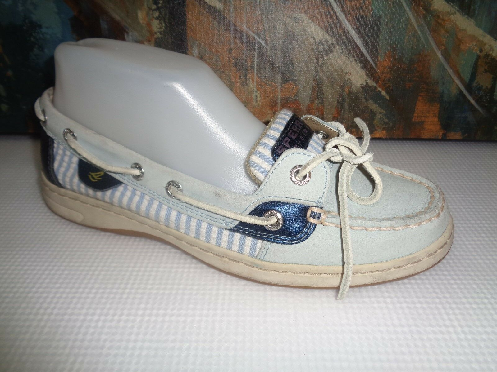 SPERRY TOPSIDER Billfish Women's Baby bluee Silver White casual boat shoes 7.5M