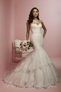 NWT-Size-12-Ivory-Lace-mermaid-long-formal-bridal-gown-House-of-Wu-18042