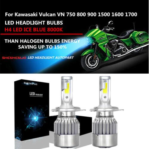 H4 LED Headlight For Kawasaki Vulcan VN 750 800 900 1500 1600 1700 2000 Ice Blue