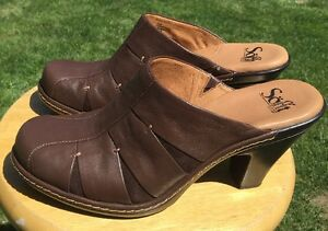 736c99e049a Details about Sofft Women's Brown Leather Heeled Mule Shoes Size 8M US  #1038860