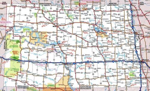 NORTH DAKOTA STATE ROAD MAP GLOSSY POSTER PICTURE PHOTO PRINT city bismarck 3397