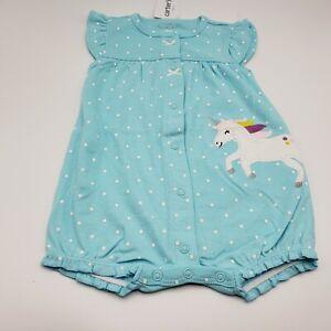 Carters Baby Girl Snap Romper Blue//White Polka Dots Magical Unicorn Design New