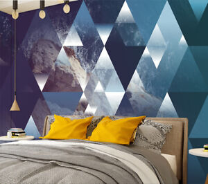 3d Abstract Geometric Triangles Self Adhesive Bedroom Wall Murals