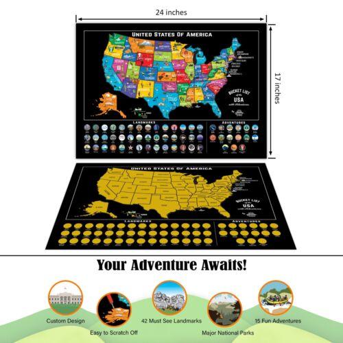 USA Scratch Travel Map Scratch Off Map United States US LandmarksAdventures