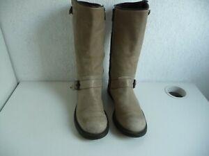 OXS taille bottes en sur cuir beige Détails 38 femme 1JFKl3Tc