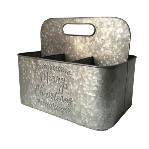 Merry Christmas/' Metal Tool Holder//Box Suitable for Use /& Decoration