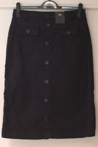 Ladies-M-amp-S-Collection-Size-10-Navy-Cotton-Stretch-Button-Front-Pencil-Skirt-Bnwt