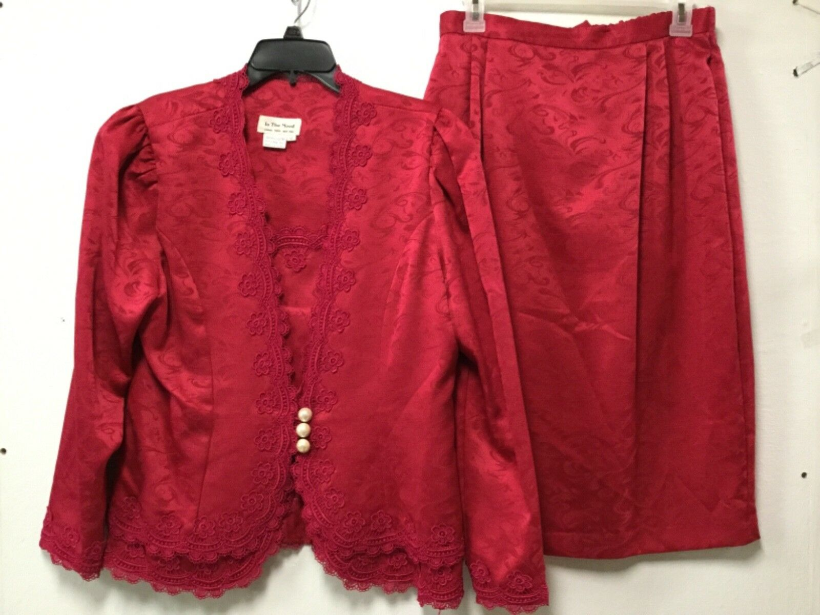 Womens Sexy Two Piece Formal Skirt Suit Size 12 Bright Red In The Mood 189