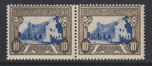 South-Africa-1939-10s-Blue-amp-Sepia-Horizontal-Pair-M-M-SG-64c