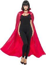 Mens Ladies Red Devil Long Cape Vampire Demon Halloween Fancy Dress Medieval New