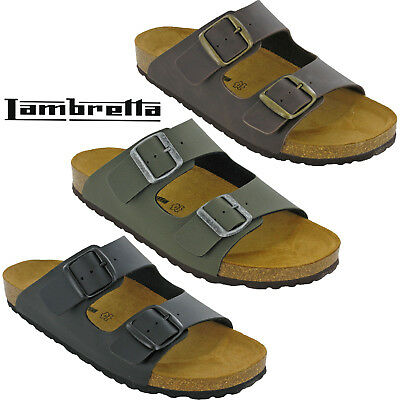 FleißIg Lambretta Mens Sandals Buckle Slip On Flip Flops Leather Footbed Beach Uk 7-15 Quell Sommer Durst