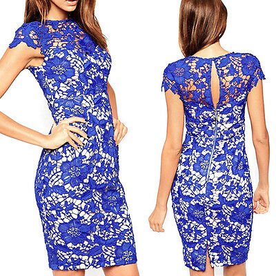 Sexy Women Floral Lace Short Sleeve Bandage Bodycon Cocktail Party Evening Dress