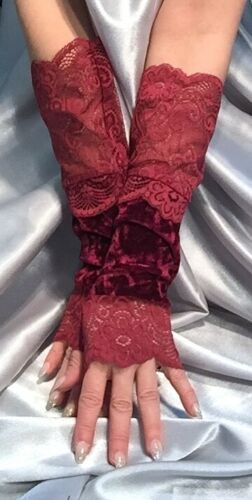 Madame Fantasy Long Velour Fingerless Gloves Lace Cuffs Wine Red Burgundy