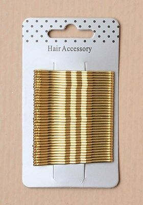 36pc 5cm Blond KIRBY Hair Grips & Slides Clips Bobby Pins Metal Hair Accessory