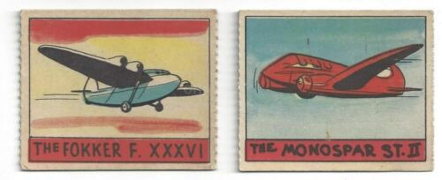 1938 airplanes AVIATION R132 cards #319 Monospar St. 11 #334 Fokker F. XXXVI