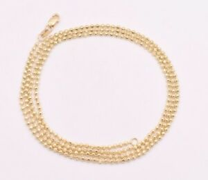 2mm-Solid-Half-Moon-Diamond-Cut-Bead-Ball-Chain-Necklace-REAL-10K-Yellow-Gold