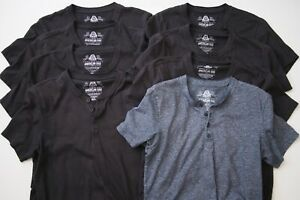 Lot-of-8-American-Rag-Short-Sleeve-Henley-Shirts-Black-Blue-Tees-T-Shirts-Mens-S