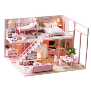 1 24 Miniature Diy Dollhouse Kit With Led Light Model Pink Princess Bedroom Ebay