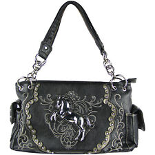 BLACK WESTERN STITCH METAL HORSE DESIGN LOOK SHOULDER HANDBAG CONCEALED CARRY