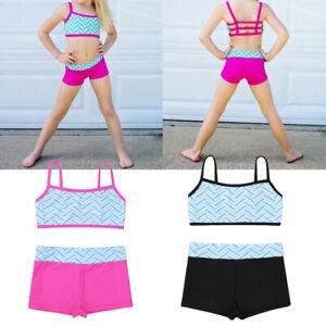 Girls Dance Sport Outfit Kids Gymnastics Ballet Training Leotard Top+Shorts Set