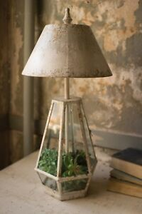 Glass Terrarium Table Lamp Light Metal And Glass Rustic Antique