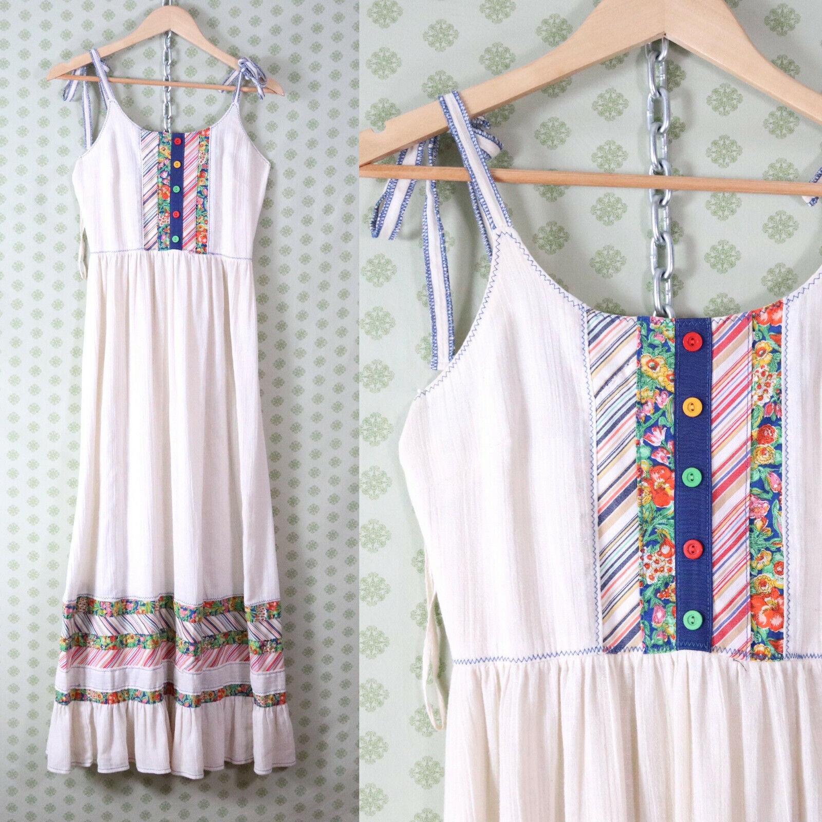 vintage 60s 70s patchwork guaze maxi dress XS pra… - image 2